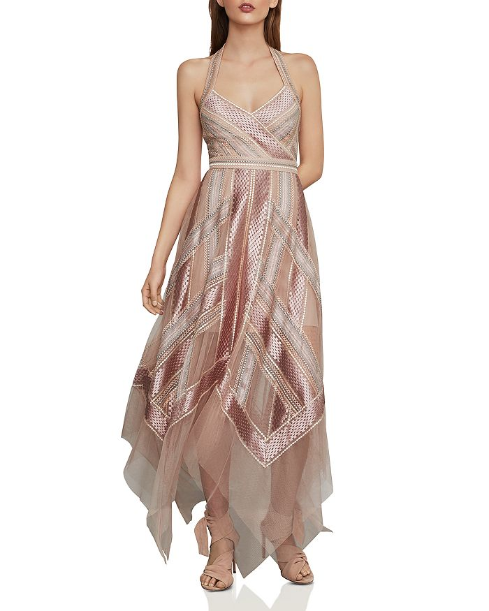 BCBGMAXAZRIA - Embroidered Halter Gown