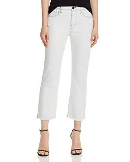 3x1 - Austin High-Rise Cropped Frayed Straight-Leg Jeans in Adelia