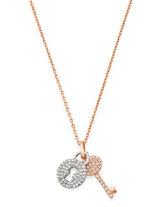 Bloomingdale's - Pavé Diamond Lock & Key Pendant Necklace in 14K Rose & White Gold, 0.25 ct. t.w. - 100% Exclusive