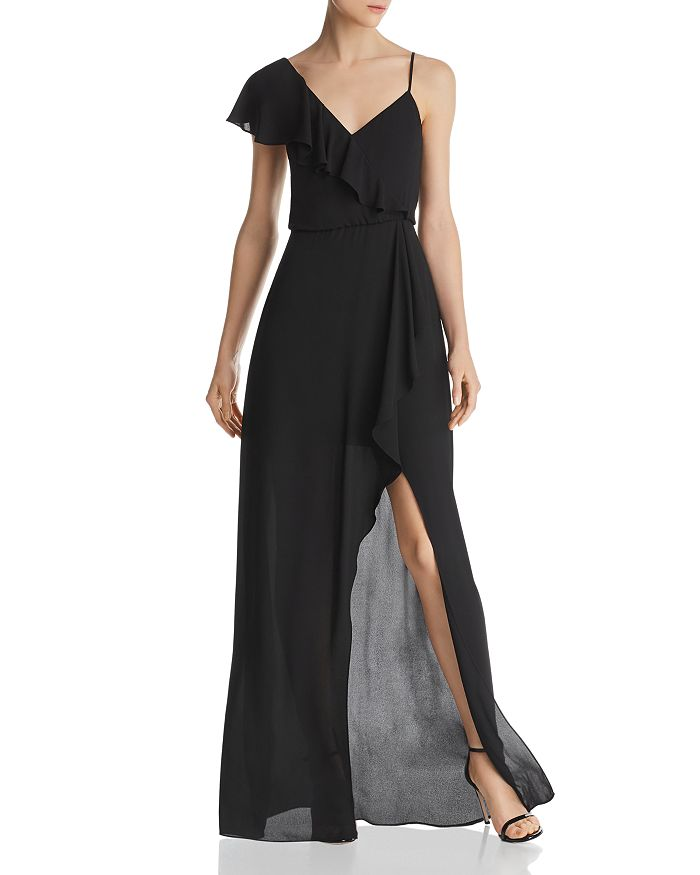 BCBGMAXAZRIA - Asymmetric Faux-Wrap Gown - 100% Exclusive