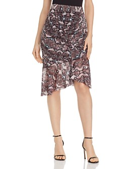Parker - Saffron Snakeskin-Printed Skirt