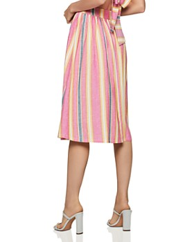 BCBGENERATION - Button-Front Striped A-Line Skirt