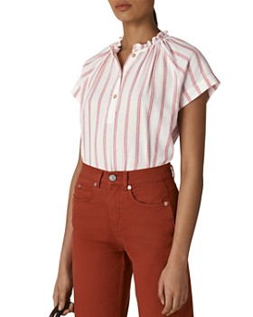 Whistles - Tilly Striped Ruffled-Collar Top