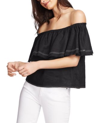 Off The Shoulder Linen Top by 1.State