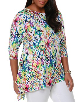 0f468d3ef Belldini Plus - Abstract Kaleidoscope-Print Grommet Top ...