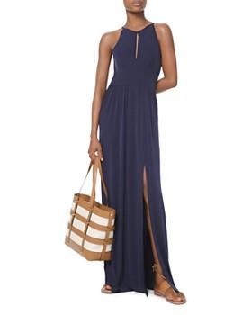 022bba3f6ef MICHAEL Michael Kors - Shirred Jersey Keyhole Maxi Dress ...