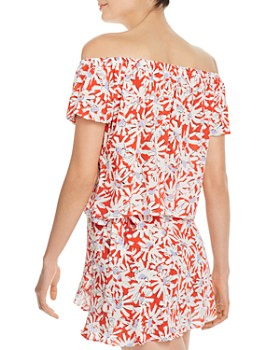 5368d9af83f ... AQUA - Floral Off-the-Shoulder Top - 100% Exclusive