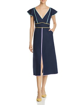 kate spade new york - Contrast-Trimmed Midi Dress