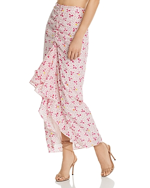 All Things Mochi Ola Pink Polka Dot Silk Skirt