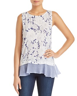 Cupio - Sleeveless Floral Lace-Up Top