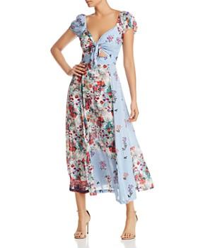 Tolani - Floral Striped Tie-Front Dress