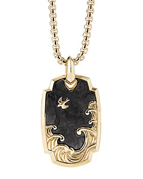 David Yurman - 18K Yellow Gold Waves Pendant with Forged Carbon