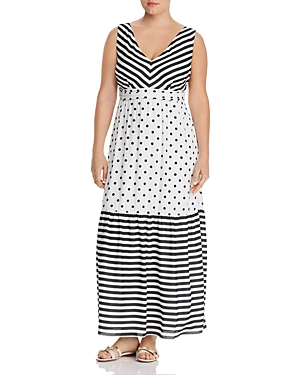 Maree Pour Toi Plus Stripe-Dot Maxi Dress