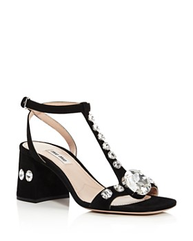 ab98770626 Miu Miu - Women's Crystal-Embellished Block Heel Sandals ...
