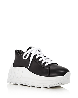 Miu Miu Women's Wedge Heel Logo Sneakers