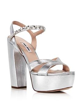 Miu Miu - Women's Crystal Metallic Platform Sandals
