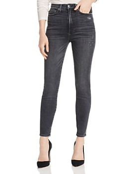 Alice and Olivia - Good High-Rise Distressed Ankle Skinny Jeans in Black Magic