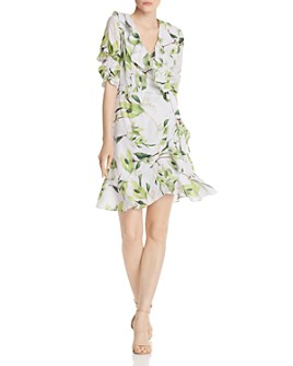 Adrianna Papell - Floral Print Faux-Wrap Dress