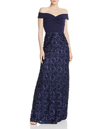 Aidan Mattox - Off-the-Shoulder Floral-Embellished Gown