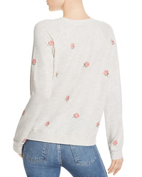 Monrow - Vintage Embroidered Rose Sweatshirt