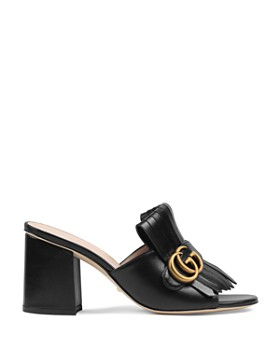 44395b7a700 ... Gucci - Women s Marmont Leather Mid-Heel Slide Sandals with Double G