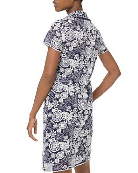 MICHAEL Michael Kors - Embroidered Medallion & Floral Pattern Georgette Shirt Dress
