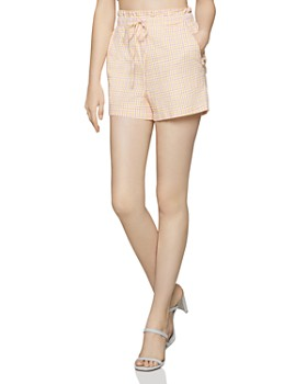 7135436f36 BCBGENERATION - Seersucker Check Paperbag-Waist Shorts ...