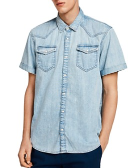 Scotch & Soda - Short-Sleeve Slim Fit Denim Western Shirt
