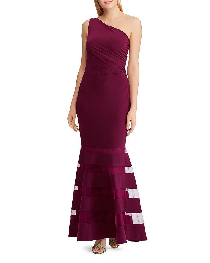 Ralph Lauren - One-Shoulder Tulle-Inset Gown