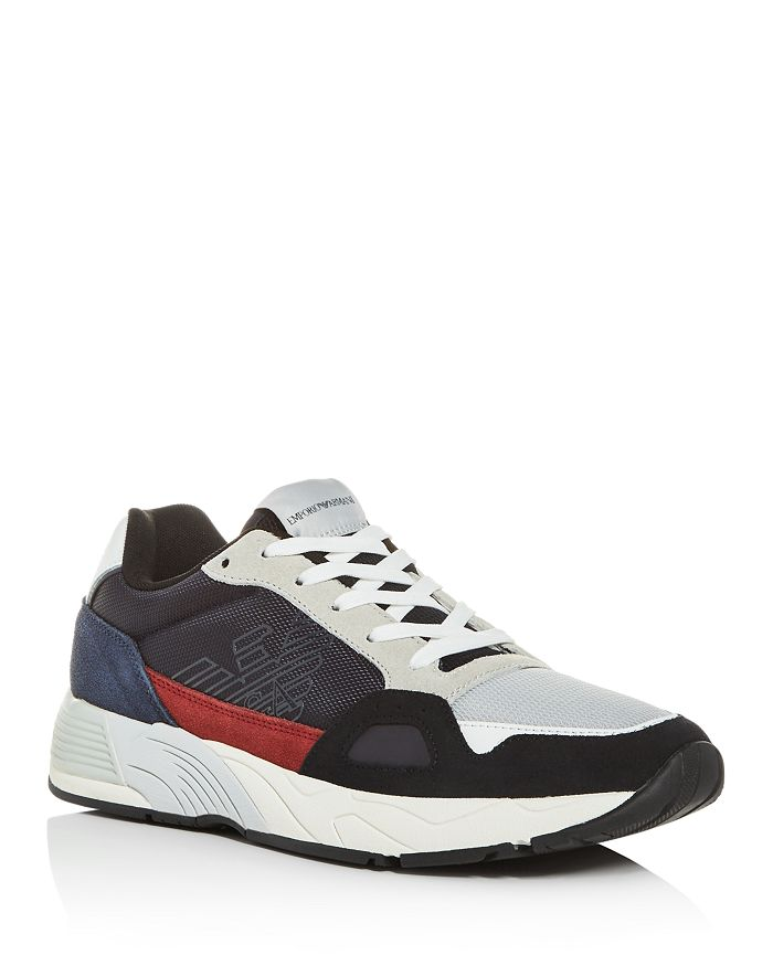 Armani - Men's Suede & Leather Low-Top Sneakers