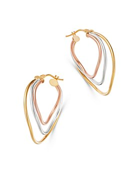Bloomingdale's - Three-Row Curved Hoop Earrings in 14K Yellow, White & Rose Gold - 100% Exclusive