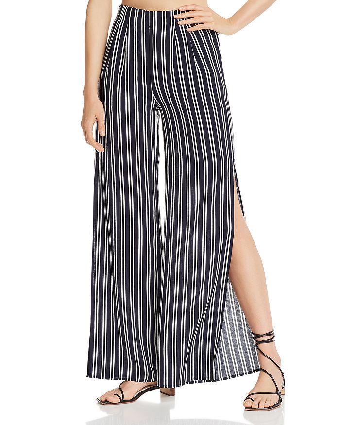 AQUA - Striped Slit Wide-Leg Pants - 100% Exclusive