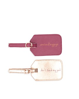"""Miamica - Burgundy Upgrade Me! """"Emotional Baggage"""" & """"Don't Touch My Junk"""" Luggage Tag Set"""