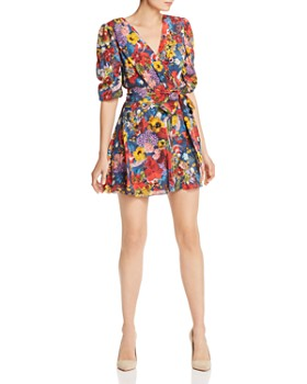 Alice and Olivia - Kerri Balloon-Sleeve Silk Faux-Wrap Dress