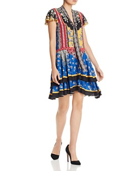 Alice and Olivia - Moore Flutter-Sleeve Tiered Floral Tunic Dress
