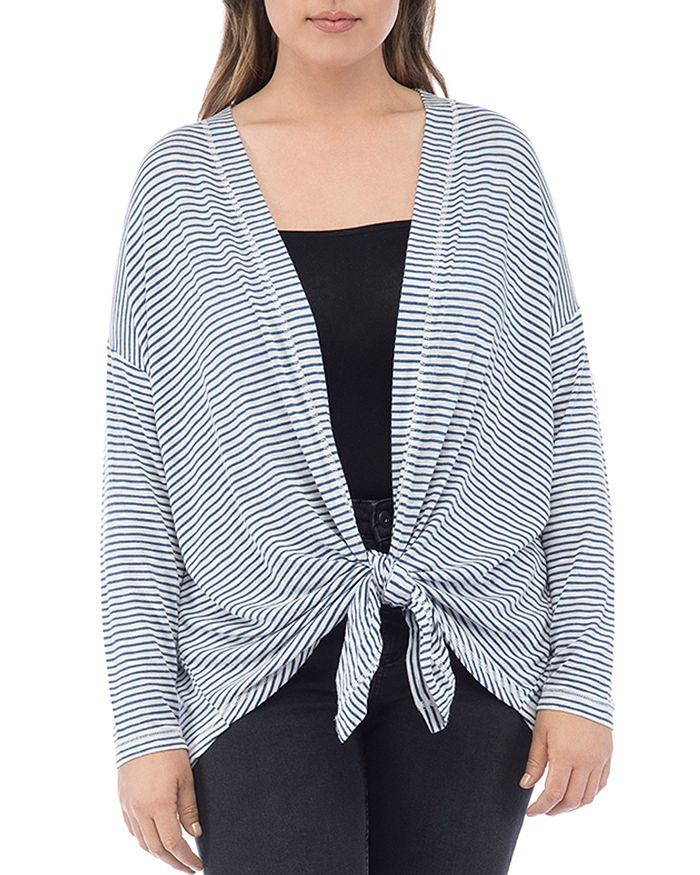 B Collection by Bobeau Curvy - Cecile Striped Tie-Front Cardigan