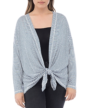 B Collection by Bobeau Curvy Cecile Striped Tie-Front Cardigan