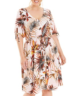 Estelle Plus - Destination Printed Button-Front Dress