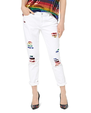 Michael Michael Kors Jeans RAINBOW SEQUINED HIGH-RISE SLIM-LEG JEANS IN WHITE