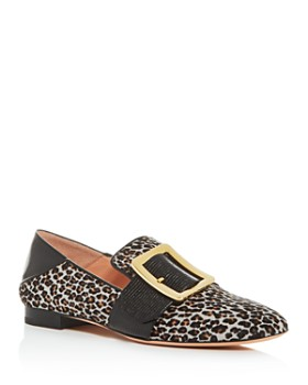 Bally - Women's Janelle Leopard-Print Calf Hair Smoking Slippers