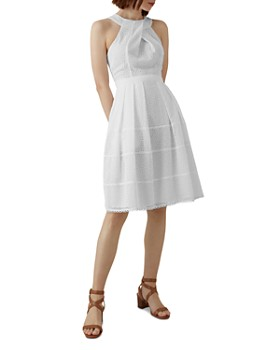 c98d3ca393b KAREN MILLEN - Pleated Eyelet Fit-and-Flare Dress ...