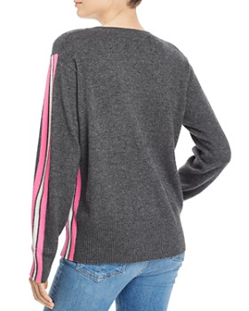 AQUA - Track-Stripe Cashmere Sweater - 100% Exclusive