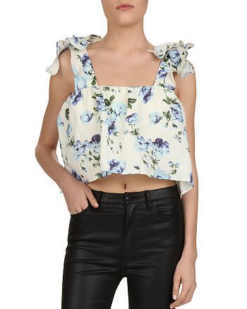The Kooples - Floral Tie-Detail Cropped Top
