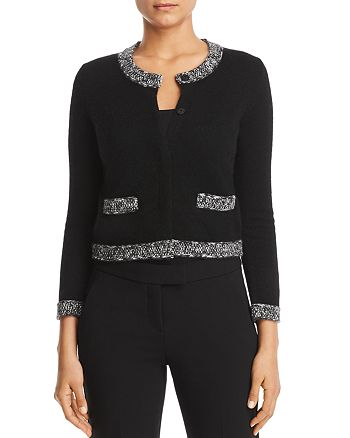 C by Bloomingdale's - Marled-Trim Cashmere Cardigan - 100% Exclusive