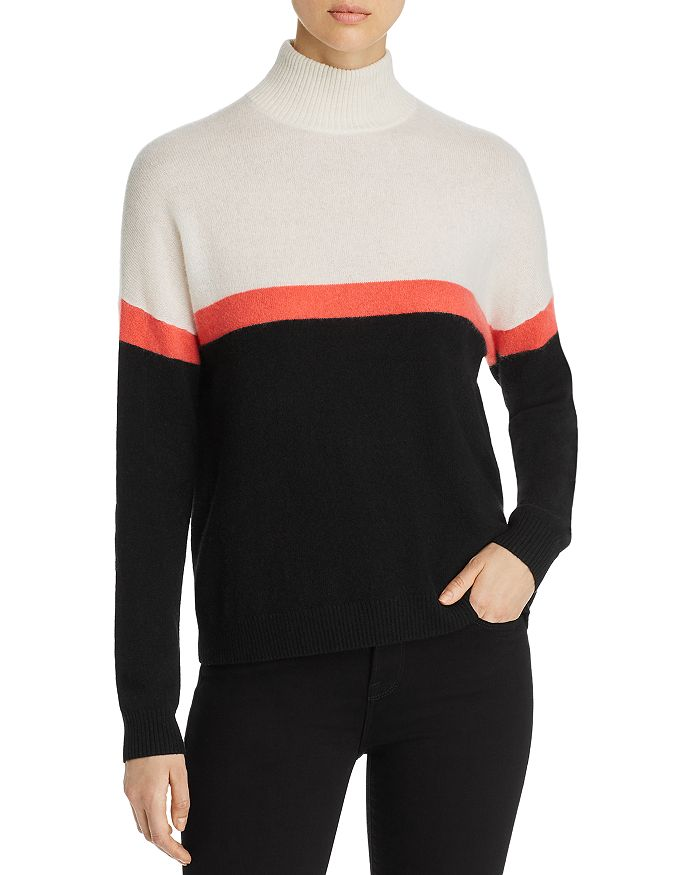 C by Bloomingdale's - Color-Block Mock-Neck Cashmere Sweater - 100% Exclusive