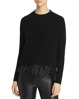 C by Bloomingdale's - Ostrich Feather-Trim Cashmere Sweater - 100% Exclusive