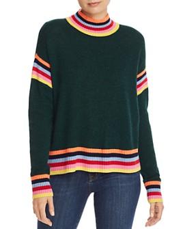 AQUA - Rainbow-Trim Donegal Cashmere Sweater - 100% Exclusive