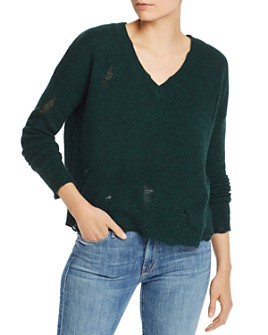 AQUA - Distressed V-Neck Cashmere Sweater - 100% Exclusive