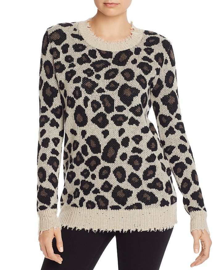 AQUA - Distressed Leopard Jacquard Cashmere Sweater - 100% Exclusive