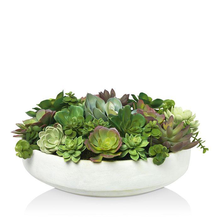 Diane James Home - Mixed Succulent Faux Floral Arrangement in Clay Bowl